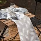 Tischläufer aus Jute mit Federn-Aufdruck