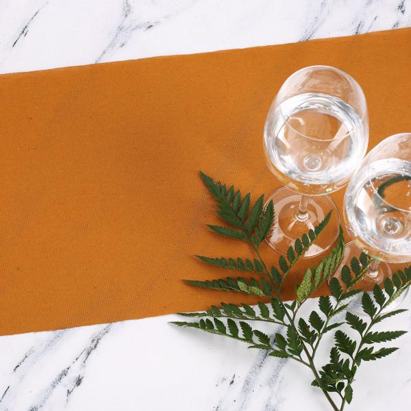 Tischläufer aus Baumwolle Senfgelb