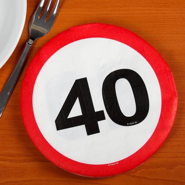 Partyservietten Verkehrszeichen 40