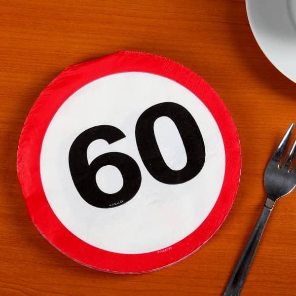 Partyservietten Verkehrszeichen 60