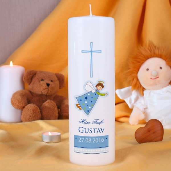 Taufkerze mit Schutzengel für Jungen