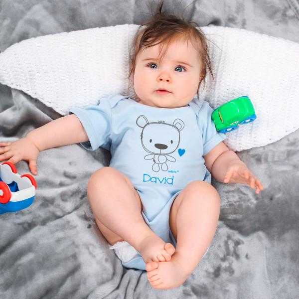 Blauer Babybody mit niedlichem Teddymotiv