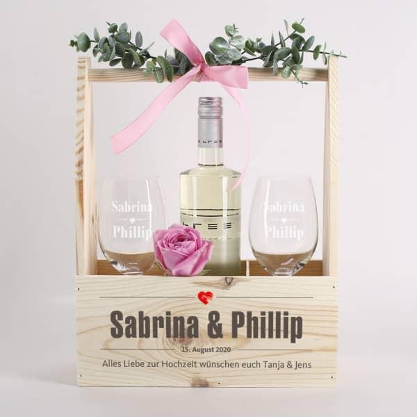 bedruckte Wein-Kiste aus Holz für 3 Flaschen zur Hochzeit