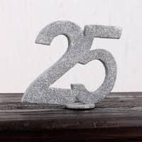 Silberne Dekozahl 25 für Tischdekoration Silberhochzeit