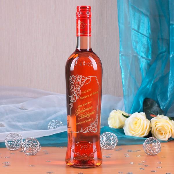Gravierte Weinflasche zur Goldenenhochzeit in gold und silber