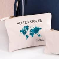 Kleine Tasche Beautycase für Weltenbummler mit Namen