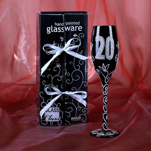 Champagnerglas in schwarz zum 20. Geburtstag