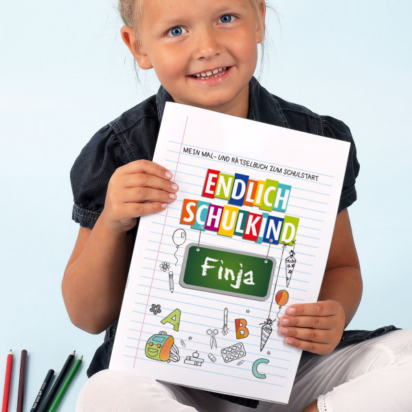Endlich Schulkind - Malheft mit Name zum Schulanfang DIN A4, 24 Seiten