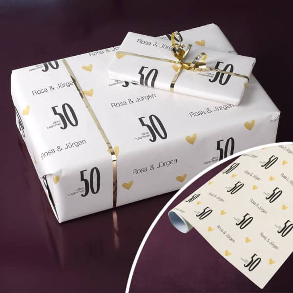 Persönliches Geschenkpapier zur Goldhochzeit