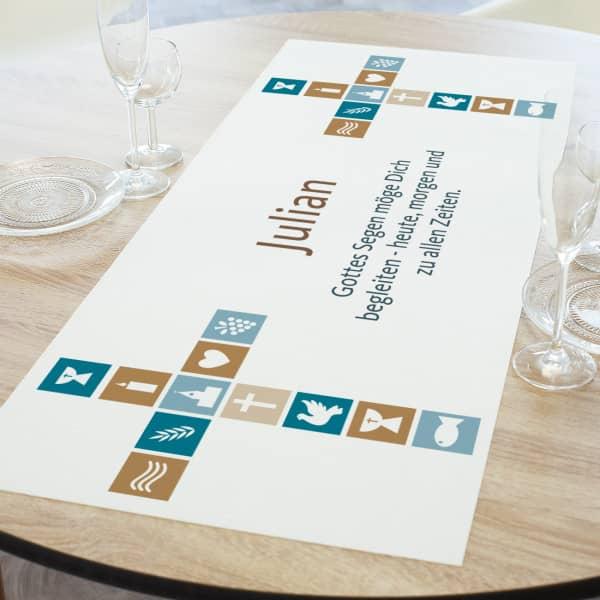 Tischläufer für religiöse Anlässe mit Name und Wunschtext in zwei Längen