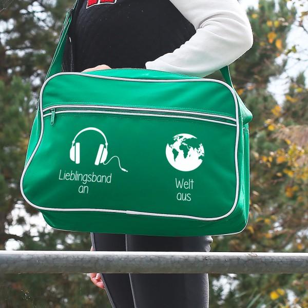 Retro Tasche in Grün mit Wunschtext