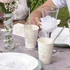 10 Pappbecher zur Hochzeit mit Taubenmotiv
