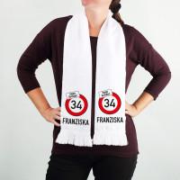 Bedruckter Schal für Geburtstagskinder mit Verkehrszeichen