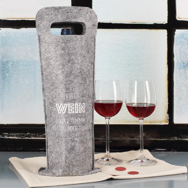 Filz-Geschenkverpackung - der beste Wein ist de...