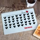 Glasbrettchen LOVE mit schwarzen Herzen und Wunschtext