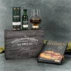 Glenfiddich mit Whiskybuch und Whiskyglas in bedruckter Geschenkbox für Gentlemen