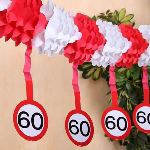 Papiergirlande Verkehrsschild zum 60. Geburtstag