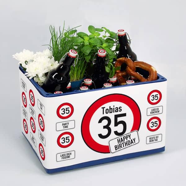 Geburtstagsbier Bierkasten-Banderole mit Verkehrszeichen zum Geburtstag