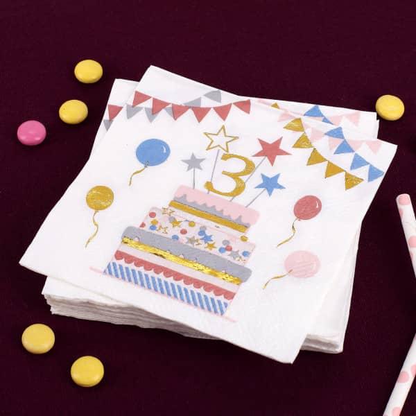 Geburtstags-Servietten zum 3. Geburtstag