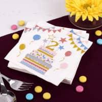 Bunte Servietten zum 2. Geburtstag