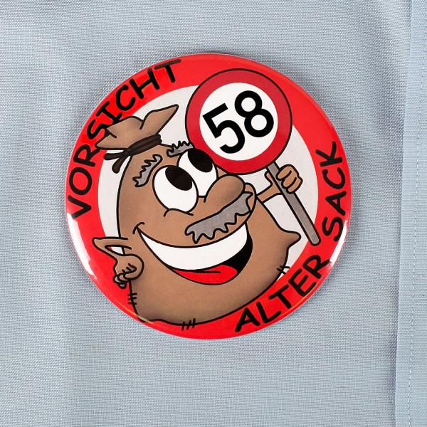 Riesen Button Alter Sack zum 58. Geburtstag