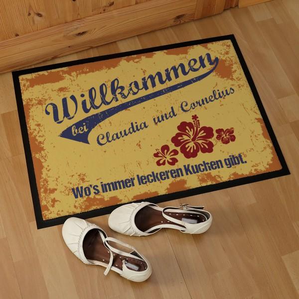 persönliche Fußmatte -Willkommen bei...- mit Name und Text