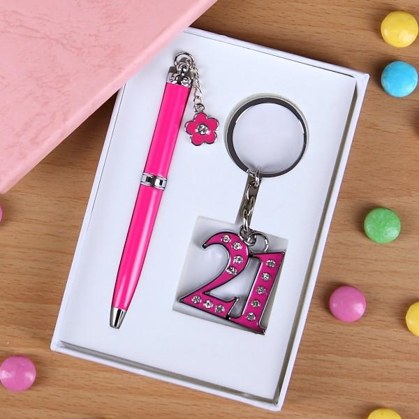 Geschenkset in Pink mit Strass zum 21. Geburtstag