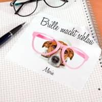 Brillenputztuch mit Hund und Wunschname bedruckt