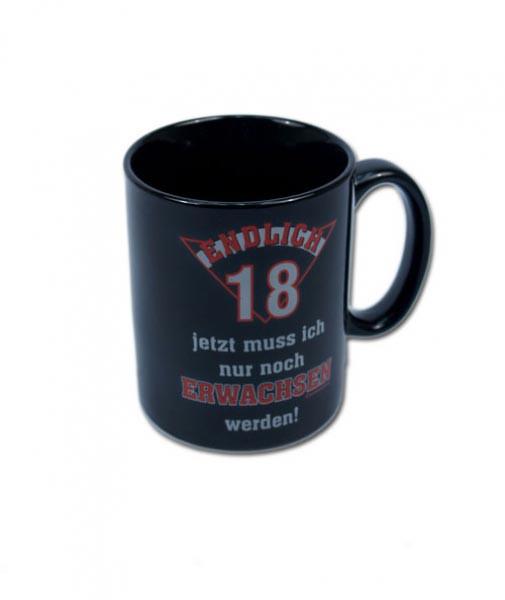 schwarze Tasse zum 18. Geburtstag
