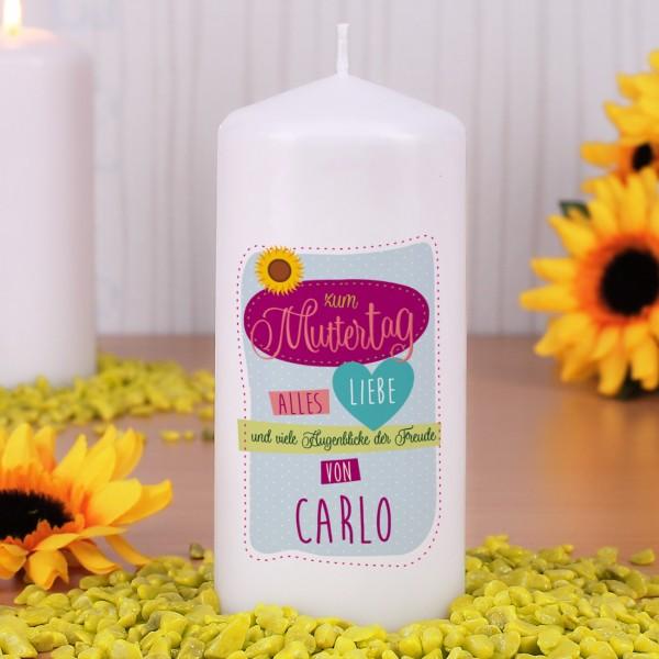 Kerze zum Muttertag - Alles Liebe mit Name