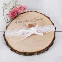 Baumscheibe mit Gravur ideal für Hochzeitsringe oder als Tischdeko