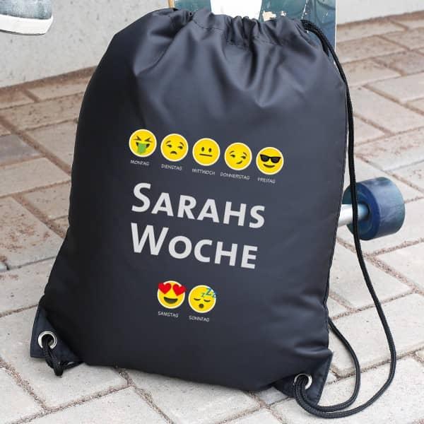 Rucksack mit Emoji Woche Smiley und Name