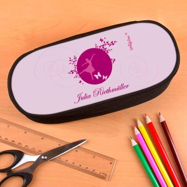 Stiftebox mit rosa Ballerina-Motiv und Name bedruckt.