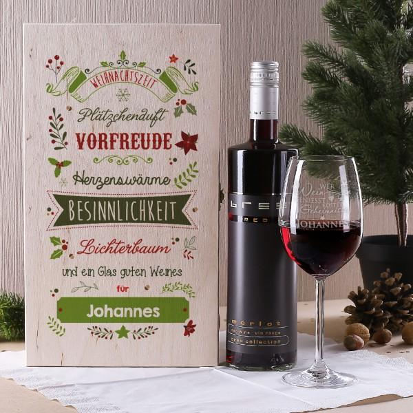 Weinset in Holzbox zu Weihnachten