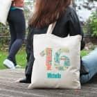 Baumwollbeutel mit Wunschnamen zum 16. Geburtstag