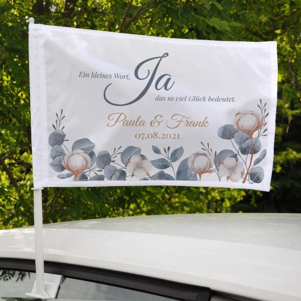 Autofahne JA - Ein kleines Wort, das so viel Glück bedeutet - zur Hochzeit