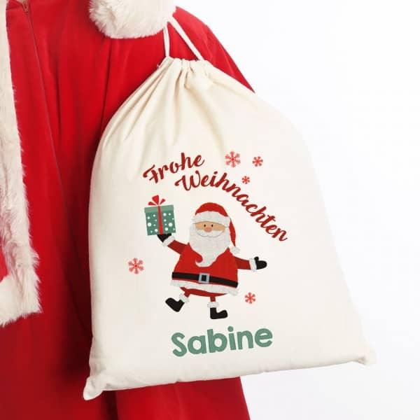 geschenksack zu weihnachten mit weihnachtsmann und wunschname. Black Bedroom Furniture Sets. Home Design Ideas