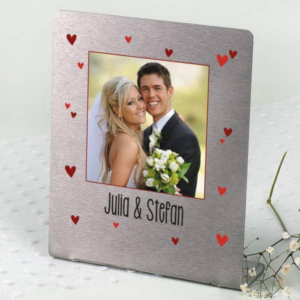 Edelstahl Fotorahmen zum Hochzeitstag- mit Ihrem Lieblingsfoto und Wunschtext