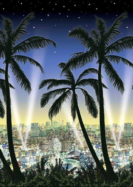 Wandszenario Skyline mit Palmen