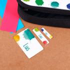 Bunte Aufkleber mit Farbklecksen und Wunschname