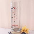 Turteltauben - Vase für Paare mit Herzen, Wunschnamen und Datum
